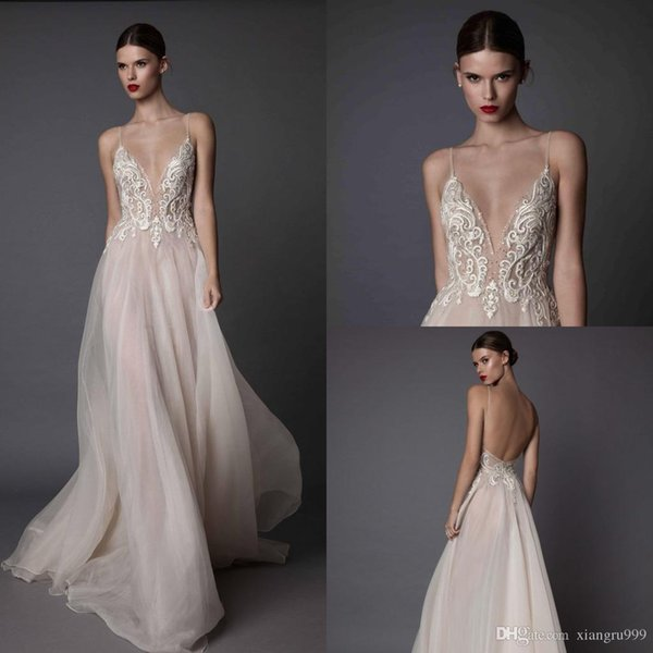 2017 Sexy Ivory Berta Evening Dresses Deep V Neck Spaghetti Backless Prom Dress Sequin Applique Illusion Formal Party Gowns
