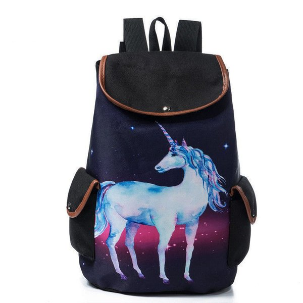 good quality Space And Horse Printed School Backpack For Teenager Drawstring Design Cartoon Unicorn Canvas Travel Rucksack Female