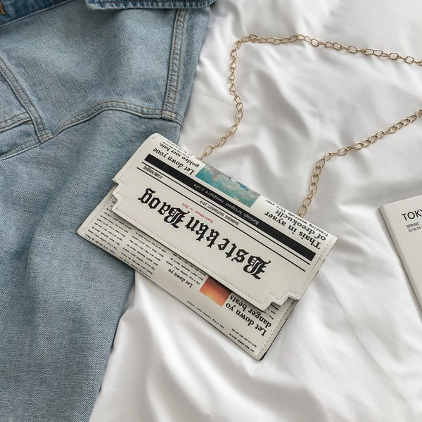Newspapers modeling women day clutch bags letter envelope bag casual shoulder bag purse evening bags