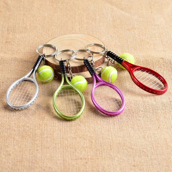 2019 Hot Tennis Racket Keychain - Cute Sport Mini Keychain car 6 color Pendant Keyring Sports Key Chain Who love sports Gifts