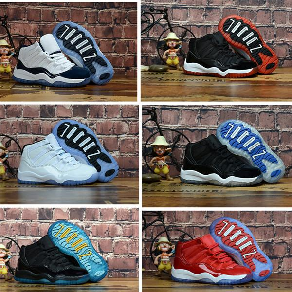 best selling 2019 Bred XI 11S Kids Basketball Shoes Gym Red Infan &Children toddler Gamma Blue Concord 11 trainers boy girl tn sneakers Space Jam