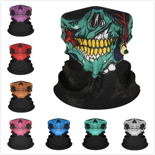top popular Seamless Hip Hop Skull Bandanas Magic Headscarf Riding Mask Tube Neck Face Headscarves Sport Magic Headband Skull Bandana 2021