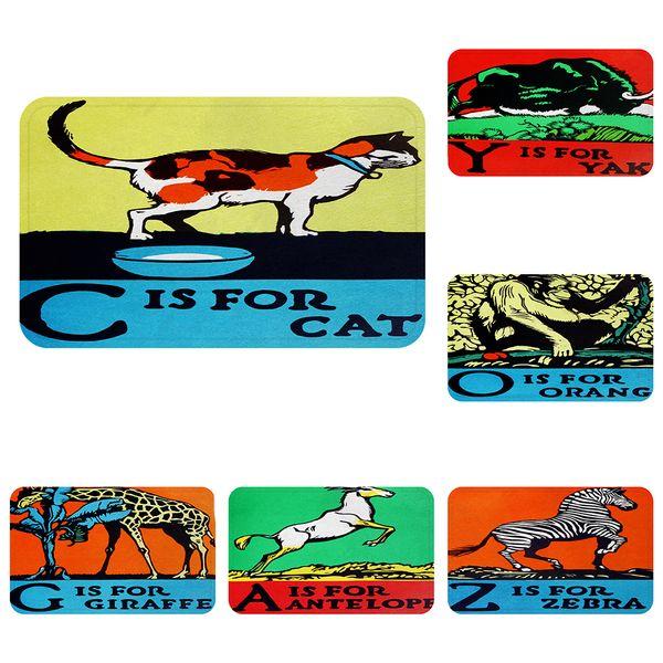 Katze Spaß Tiere Alphabet Kühle Matte Bad Teppich Dekorative Rutschfeste Matten Zimmer Auto Boden Bar Teppiche Tür Wohnkultur Geschenk