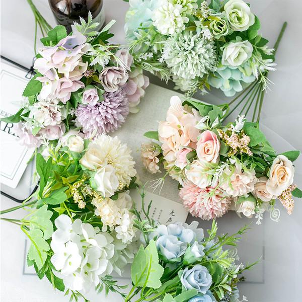 Artes 1 Bos Franse Rose Bloemen Boeket Nep Bloem Regelen Tafel Daisy Wedding Flowers Decoração Festa Acessórios Flores