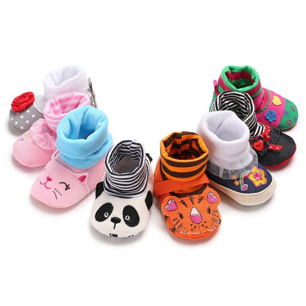 New Arrival Toddler Cute Animal Crib Shoe Infant Baby Boy Girl Soft Cartoon Anti-Skid Newborn Baby Booties Sock Slipper Shoes