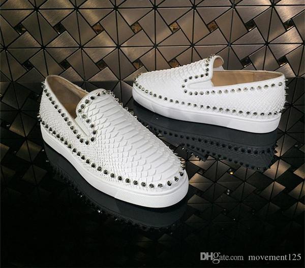 Moda Perçin Spike Tekne Loafers Ayakkabı, Gentleman Kırmızı Dip Ayakkabı Python hatları Gerçek Deri Erkek Açık Unisex Ayakkabı Boş Parti