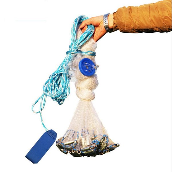 fishing Cast 2.4-7.2M American style fly folding hand net 1*1cm small mesh outdoor sprots throw catch fishing net tool