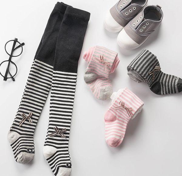 Enfants rayures leggings bébé filles Bows applique collants princesse automne hiver enfants coton tricoté collants enfants bas F3232