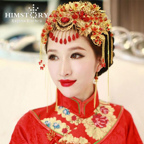 Himstory Vintage Çin Tarzı Klasik Takı Geleneksel Gelin Headdress Düğün Saç Aksesuarı Yaldız Coronet Şapkalar J190703