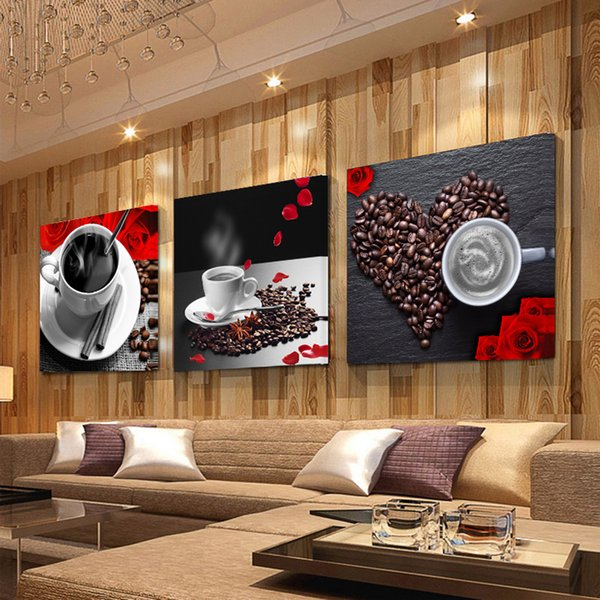Vintage Wall Decor For Living Room.2019 Icture For Living Room 3 Panel Print Coffee Cup Vintage Canvas Painting Wall Pictures For Kitchen Coffee Shop Wall Decor Painting Canvas From