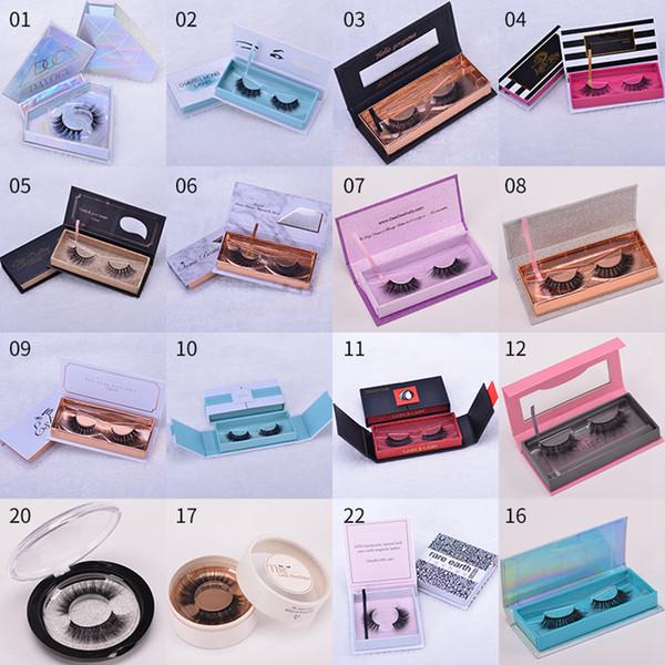Boîte de cils magnétiques 3D cils de vison Faux faux cils Emballage Caisse de cils vides Outils cosmétiques 24 styles RRA1531