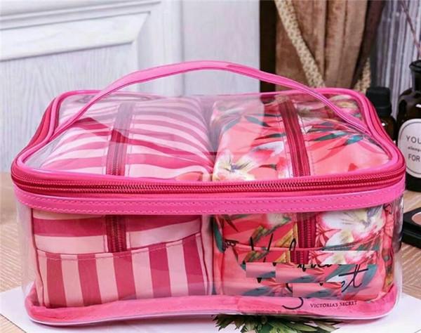Bolsas de cosméticos Colección de vacaciones Bolsa de maquillaje Edición limitada Bolsas de colección de maquillaje VS Flores bolsas hermosas 3 piezas