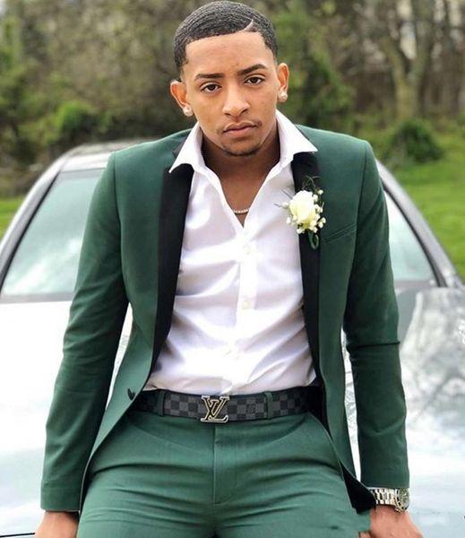 Brand New Green Men Wedding Tuxedos Muesca Solapa Novio Tuxedos Excelente hombre Blazer Traje de 2 piezas Prom / Dinner Jacket (Chaqueta + pantalones + corbata) 2669