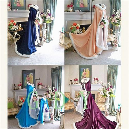 Outdoor Cape Cloak Winter Bridal Cloak Faux Fur Wedding Wraps Jackets Hooded For Winter Weddings Bridal Cloaks Wedding Guest Gowns