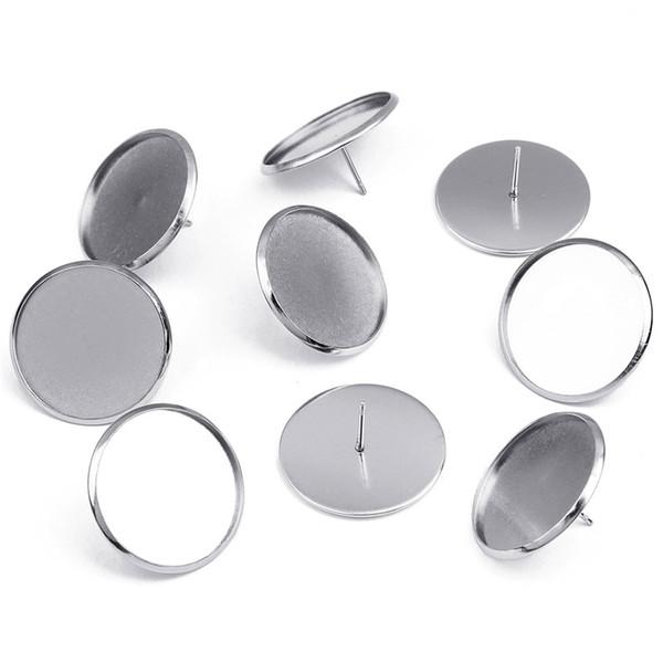 LOULEUR 50pcs/lot 25mm Stainless Steel Ear Post Earrings Base Black Earrings Tray Cabochon Cameo Settings For Diy Jewelry Making