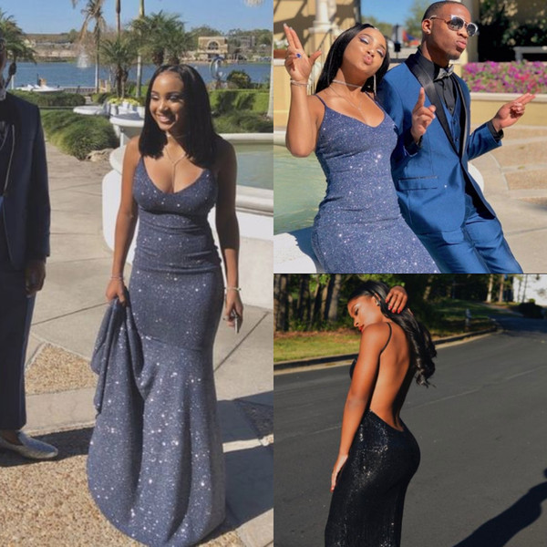 glitter Navy Blue Sequin Prom Dresses 2019 Scoop Mermaid Tight Long Formal Evening Party Gowns Sexy Backless Cheap engagement vestidos festa
