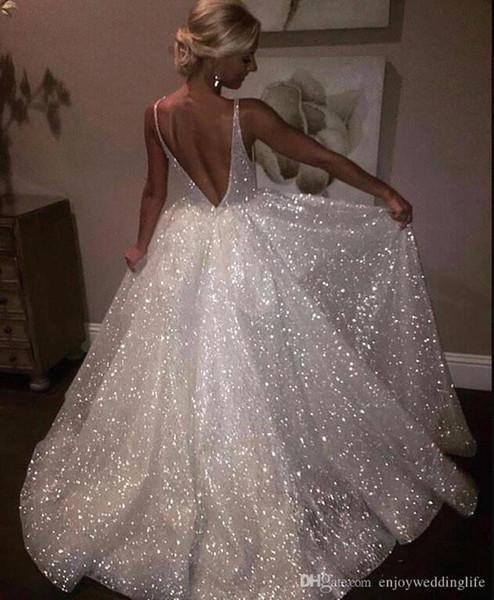 2019 роскошные блестками линия свадебные платья V Sheer шеи Bling Bling развертки поезд свадебное платье Свадебные платья robe de mariée vestido де novia