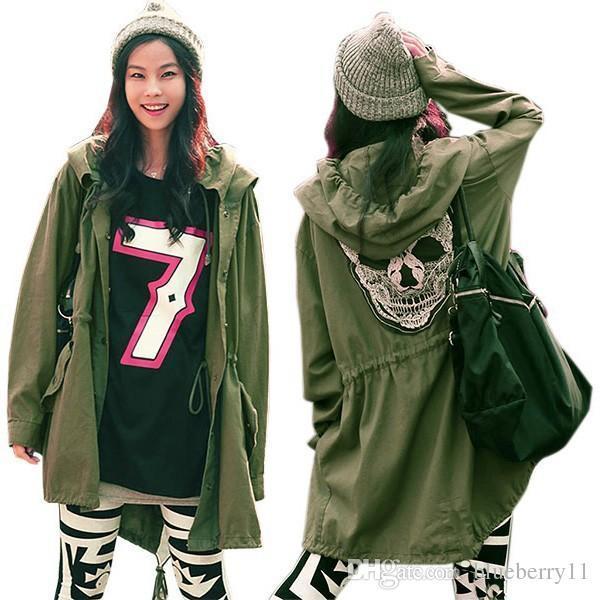 New Autumn Women Outwear Parka Button Skull Green Hooded Jacket Coat