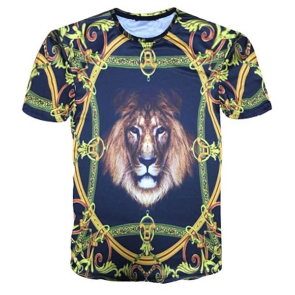 Designer Summer 2d T Shirts Mens Golden Flowers Lions Blue Stripe Letter Printed Mens T-shirts New Fashion Style Tide Tops