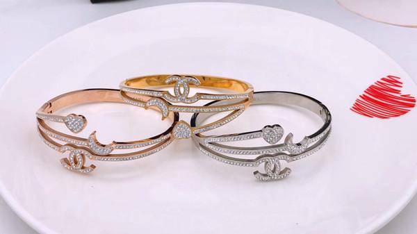 New Fashion Shinning Full CZ Stone Uomo Donna Trendy Bracciale in acciaio inossidabile 316L all'ingrosso lussi di marca Amore braccialetto gioielli braccialetto