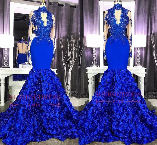 Long Sleeve Lace Appliques Evening Dress 2019 Real Images High Neck Mermaid Royal Blue Floral Prom Dress with Keyhole