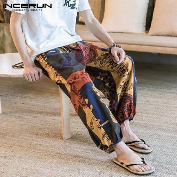 Inrerun Men's Pantalon Hombre 2019 Casual China Ethnic Print Loose Cotton Elastic Waist Men's Jogging New Wide leg Pants 5XL