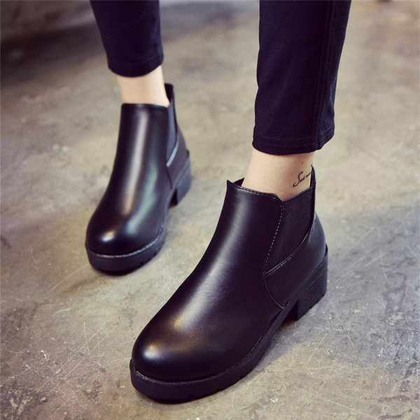 SIKETU Women Leather Low Flat Block Heel  Ankle Boots Shoes Waterproof Korean style Student Winter Boot stiefeln dame A30