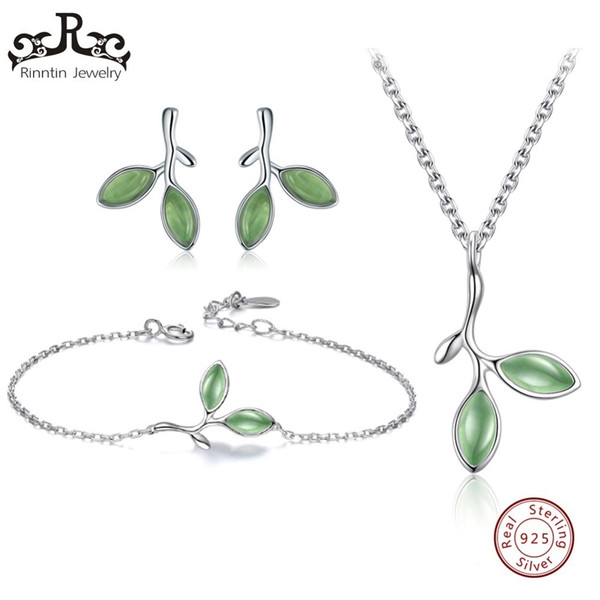 Rinntin Real 925 Sterling Silver Jewelry Sets For Women Green Leaf Shape Cat's Eye Stone Necklace/earrings/ring/bracelet Tss21 T190705