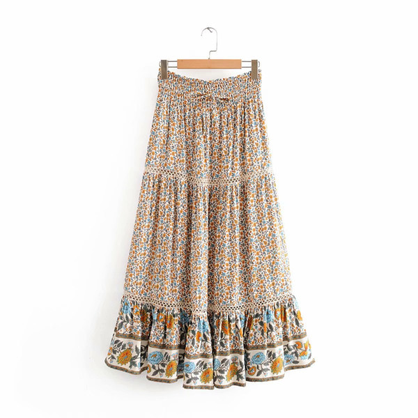 top popular Women Vintage Boho Long Skirts 2020 Plus Size Floral Print Ruffle Maxi Skirts Summer Ladies High Waist Holiday Seaside Bohemian Beach Skirt 2021