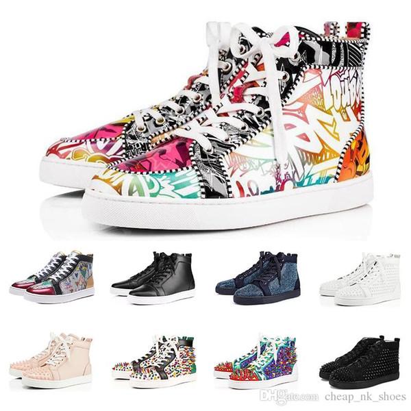 Sıcak satış Moda Lüks sneakers tasarımcı ayakkabı erkekler kadınlar için kırmızı dipleri yüksek kesim siyah beyaz Spike Hakiki Deri rahat perçin Sneaker