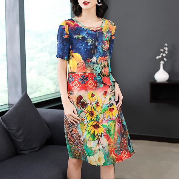 Azterumi estate nuovo 2019 donne stile nazionale abito di seta floreale elegante girocollo manica corta abiti al ginocchio abiti vestidos Y190514