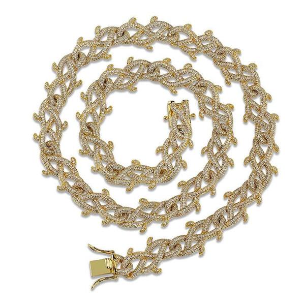 18 дюймов 22 дюйма 18 мм хип-хоп кубинские цепочки для мужчин колье браслеты цепляет 18-каратного золота медь цирконы золото серебряные ожерелья подарок