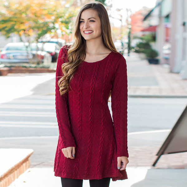 Autumn Winter New Women's Sweater Dress Fashion O-Neck Pullover Long-Sleeved Thin 8-color Knitted Sweater Dress S-XL