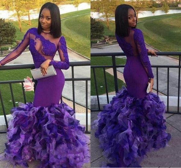 Sexy African Purple Mermaid Prom Dresses New 2019 Modern Black Girls Illusion See Through Lace Appliqued Ruffles Long Trumpet Evening Gowns