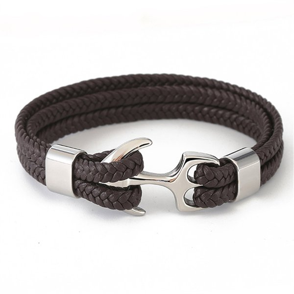 2 layer Women Fashion Jewelry Anchor Bracelets Leather Rope Bracelet Stainless Steel Hook Weave Handmade Charm Bracelet For Men