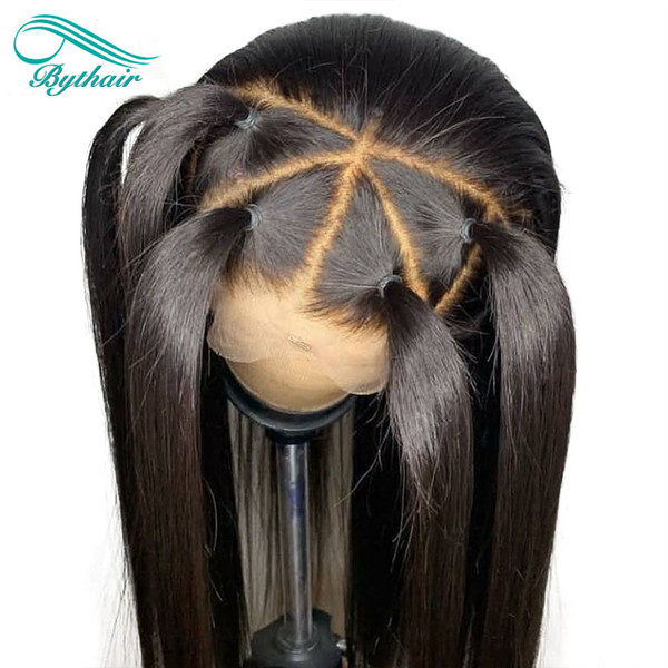 top popular Bythair Silky Straight Silk Base Lace Front Human Hair Wig Brazilian Virgin Hair Silk Top Full Lace Wig With Baby Hairs 2019