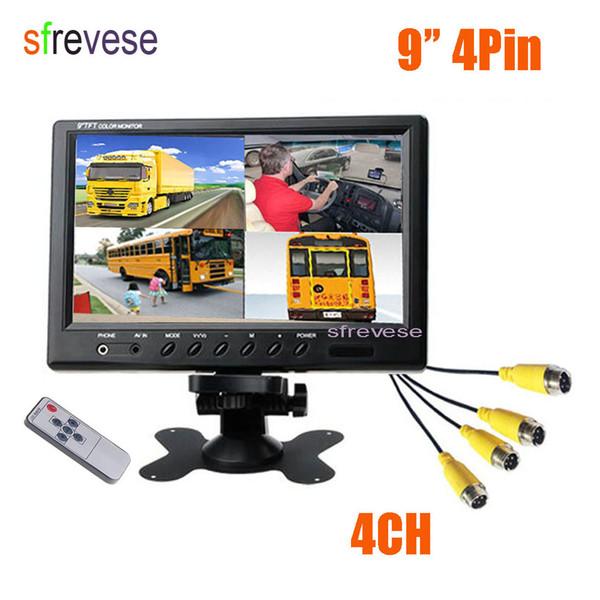 "Vehicle Car Rear View 9"" LCD Monitor 4CH Quad Split Screen 4 Pin For Bus Truck Caravan Motorhome Camper 12V-24V"