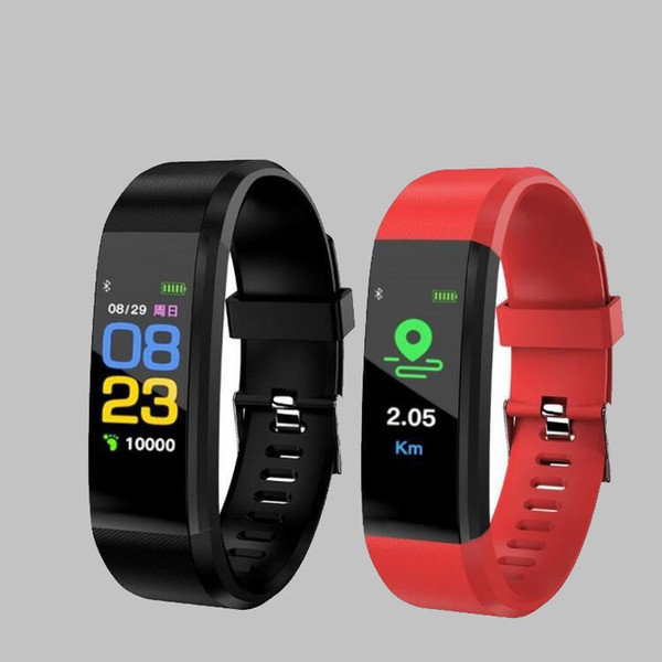 2018 For apple Color Screen ID115 Plus Smart Bracelet Fitness Tracker Pedometer Watch Band Heart Rate Blood Pressure Monitor Smart Wristband
