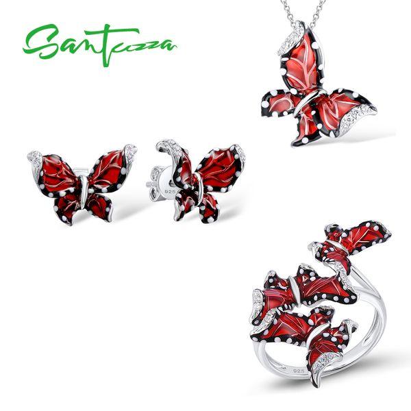 Santuzza Red Butterfly Jewelry Set For Woman White Cz Ring Earrings Pendant 925 Sterling Silver Fashion Jewelry Handmade Enamel Y19051302