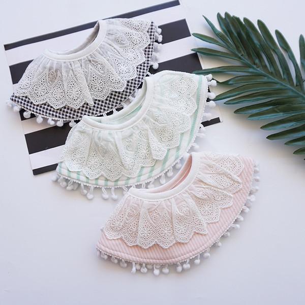 ins nuevo estilo de dama de Corea del 360 babero con encaje bola de borde babero bebé bebé toalla de la saliva 0-1-2 años