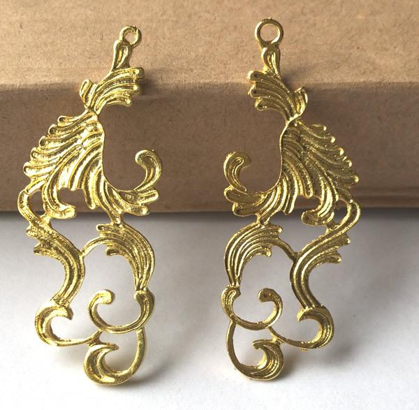10pairs 28*64MM Gold Silver fashion handmade charms metal pendants Alloy DIY Jewelry Accessories Headwear Hair Jewelry Handicraft Material