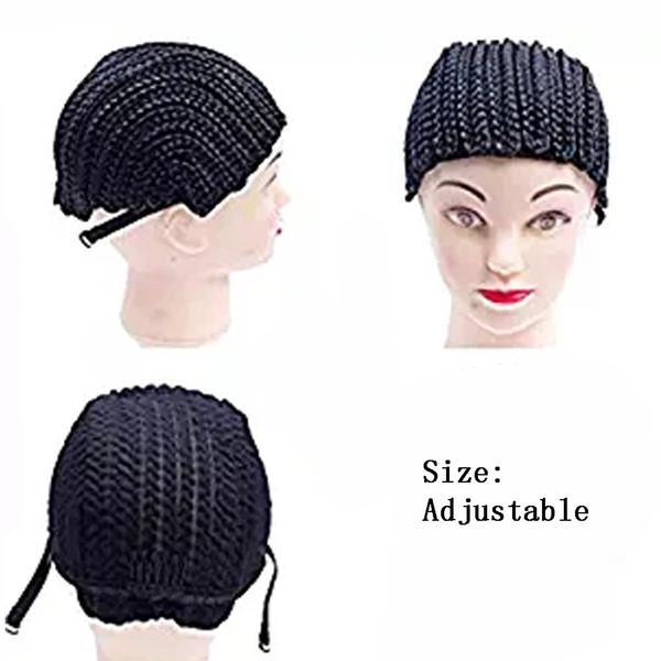 Cornrows Cap für einfacher nähen geflochtene Perücke schwarz Farbe Flechten Perücke Cap Weben S / M / L / einstellbar