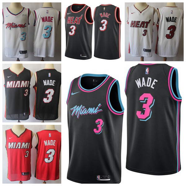 pretty nice 8615c 37d8c 2018 2019 Mens Miami Heat 3 Dwyane Wade Basketball Jerseys New The City  Edition White Black Red Dwyane Wade Jerseys 100% Stitched Mesh Dense AU  From ...