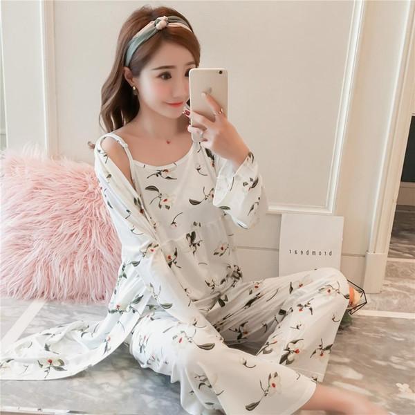 3pcs One Lot Conjuntos de pijamas para mujeres Pijamas para mujeres Ropa de dormir Pijama mujeres Cárdigan + Camisola + Pantalones largos Ropa de ocio de verano