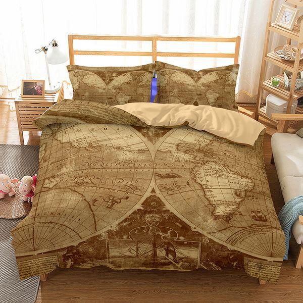 3D Bedding Duvet Cover Sets,Vintage Map For Kids Vivid Printed Children  Bedding Set With Pillowcases,100% Microfiber Blue Bedding Sets Queen  Ladybug ...