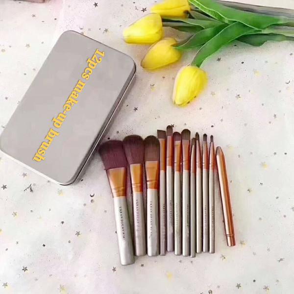 top popular N3 Brush Professional 12pcs Makeup Cosmetic Facial Brush Kit Metal Box Brush Sets Face Powder Brushes 2021
