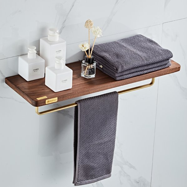 Bathroom Accessories Set Wood & Copper Paper Holder Soap dish Towel Rack Corner Shelf Toilet Brush Holder Bath Hardware Set
