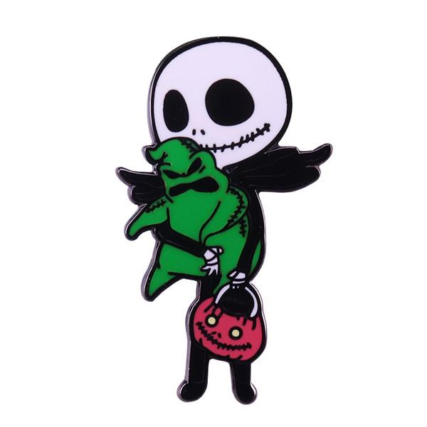 Incubo prima di Natale con perno smaltato duro Jack Skellington rapisce la spilla Oogie Boogie regalo di Halloween