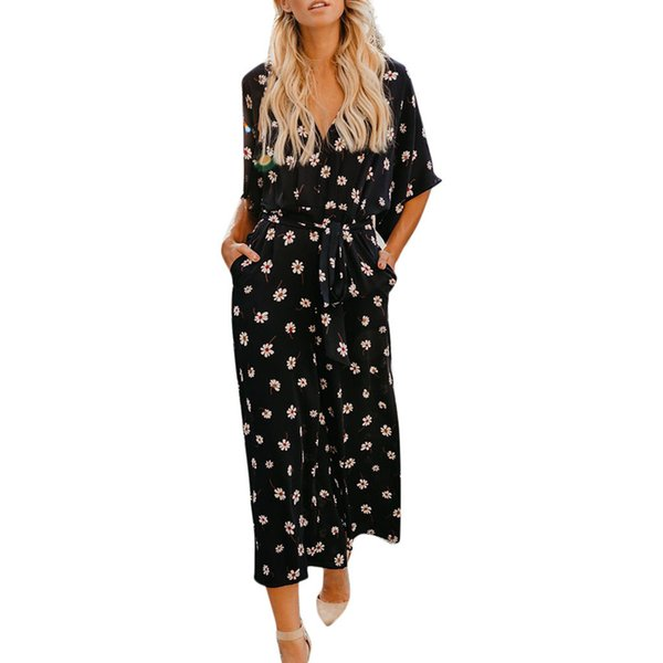 feitong Women Floral Print Jumpsuits V Neck Wide Leg Batwing Sleeve Tie Mid Waist Romper rompers womens jumpsuit summer #w30