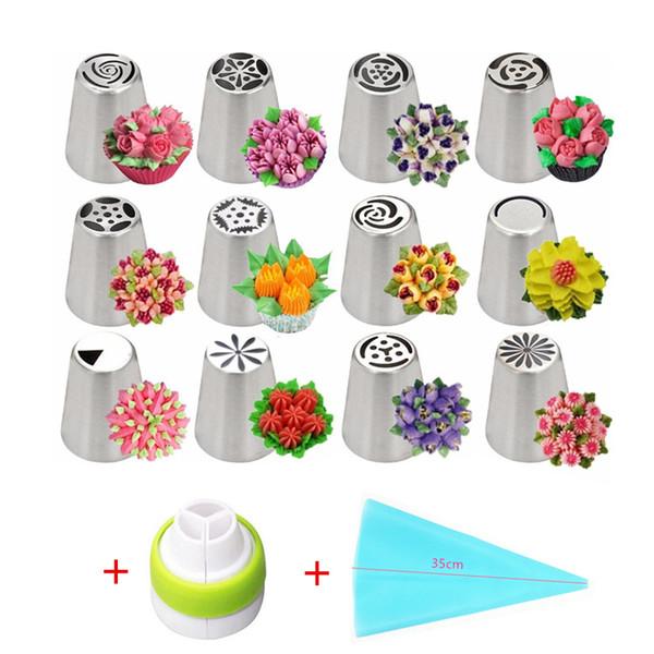 14 unid / set Boquillas de tubería de glaseado de tulipán ruso Boquillas de crema de flor de acero inoxidable Boquillas Bolsa Herramientas de decoración de pasteles de magdalenas